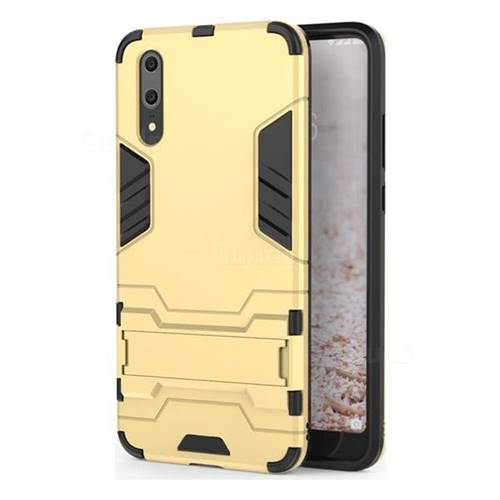 Armor Premium Tactical Grip Kickstand Shockproof Dual Layer Rugged Hard Cover for Huawei P20 - Golden