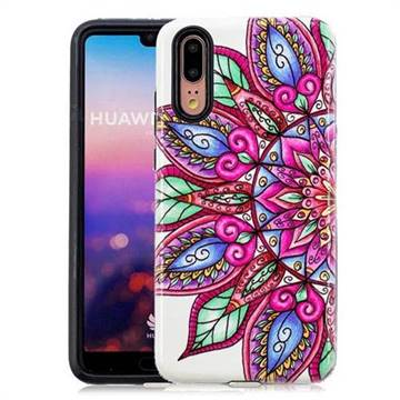 Mandara Flower Pattern 2 in 1 PC + TPU Glossy Embossed Back Cover for Huawei P20