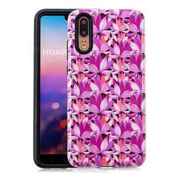 Lotus Flower Pattern 2 in 1 PC + TPU Glossy Embossed Back Cover for Huawei P20