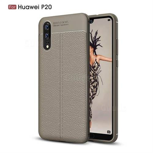 Luxury Auto Focus Litchi Texture Silicone TPU Back Cover for Huawei P20 - Gray