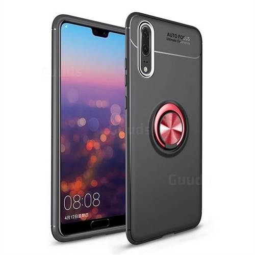 Auto Focus Invisible Ring Holder Soft Phone Case for Huawei P20 - Black Red