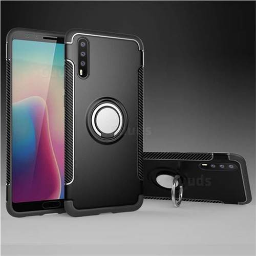 Armor Anti Drop Carbon PC + Silicon Invisible Ring Holder Phone Case for Huawei P20 - Black