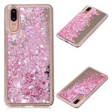 Glitter Sand Mirror Quicksand Dynamic Liquid Star TPU Case for Huawei P20 - Cherry Pink