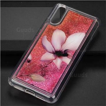 Lotus Glassy Glitter Quicksand Dynamic Liquid Soft Phone Case for Huawei P20