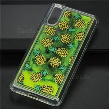 Pineapple Glassy Glitter Quicksand Dynamic Liquid Soft Phone Case for Huawei P20