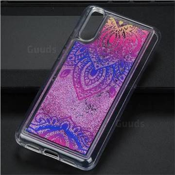 Blue and White Glassy Glitter Quicksand Dynamic Liquid Soft Phone Case for Huawei P20