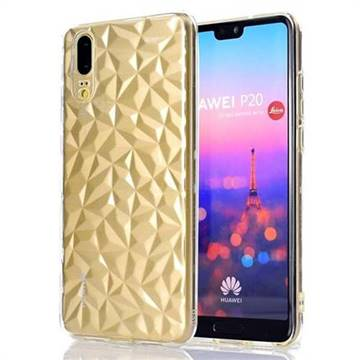 Diamond Pattern Shining Soft TPU Phone Back Cover for Huawei P20 - Transparent