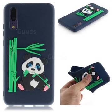 Panda Eating Bamboo Soft 3D Silicone Case for Huawei P20 - Dark Blue