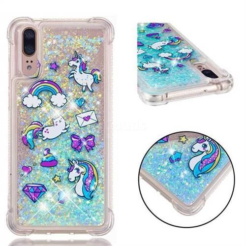 Fashion Unicorn Dynamic Liquid Glitter Sand Quicksand Star TPU Case for Huawei P20
