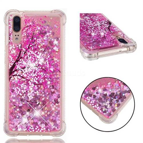 Pink Cherry Blossom Dynamic Liquid Glitter Sand Quicksand Star TPU Case for Huawei P20