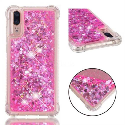 Dynamic Liquid Glitter Sand Quicksand TPU Case for Huawei P20 - Pink Love Heart