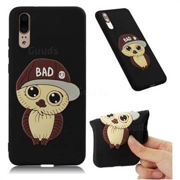 Bad Boy Owl Soft 3D Silicone Case for Huawei P20 - Black