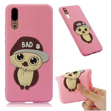 Bad Boy Owl Soft 3D Silicone Case for Huawei P20 - Pink