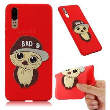 Bad Boy Owl Soft 3D Silicone Case for Huawei P20 - Red
