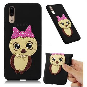 Bowknot Girl Owl Soft 3D Silicone Case for Huawei P20 - Black