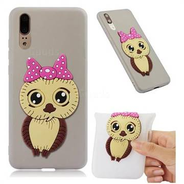 Bowknot Girl Owl Soft 3D Silicone Case for Huawei P20 - Translucent White