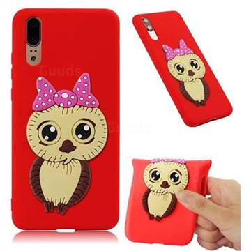Bowknot Girl Owl Soft 3D Silicone Case for Huawei P20 - Red