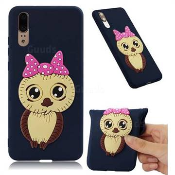 Bowknot Girl Owl Soft 3D Silicone Case for Huawei P20 - Navy