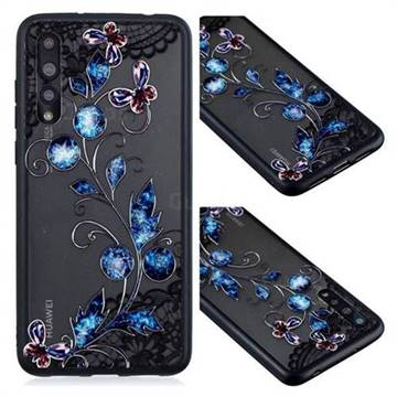 Butterfly Lace Diamond Flower Soft TPU Back Cover for Huawei P20