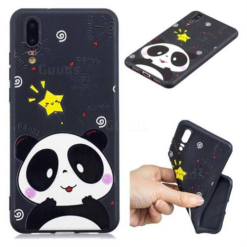 Cute Bear 3D Embossed Relief Black TPU Cell Phone Back Cover for Huawei P20