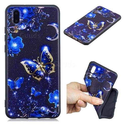 Phnom Penh Butterfly 3D Embossed Relief Black TPU Cell Phone Back Cover for Huawei P20