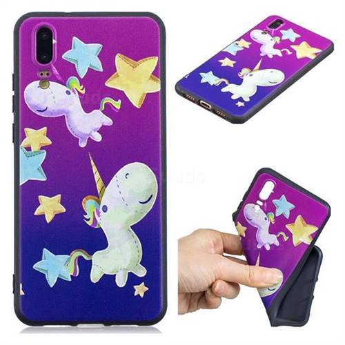 Pony 3D Embossed Relief Black TPU Cell Phone Back Cover for Huawei P20