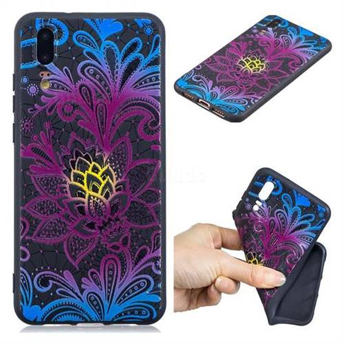 Colorful Lace 3D Embossed Relief Black TPU Cell Phone Back Cover for Huawei P20