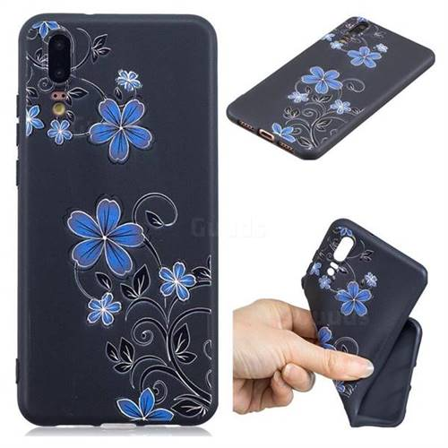 Little Blue Flowers 3D Embossed Relief Black TPU Cell Phone Back Cover for Huawei P20