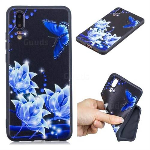 Blue Butterfly 3D Embossed Relief Black TPU Cell Phone Back Cover for Huawei P20