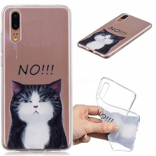 No Cat Clear Varnish Soft Phone Back Cover for Huawei P20