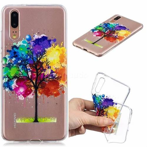 Oil Painting Tree Clear Varnish Soft Phone Back Cover for Huawei P20