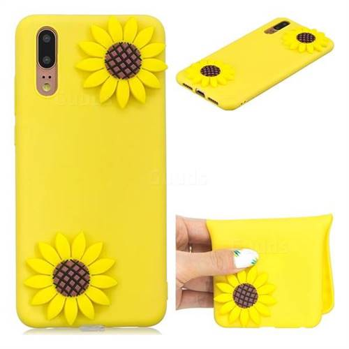 Yellow Sunflower Soft 3D Silicone Case for Huawei P20