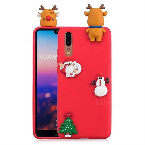Red Elk Christmas Xmax Soft 3D Silicone Case for Huawei P20