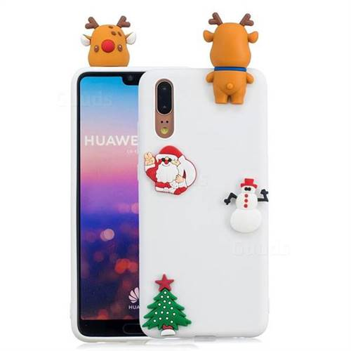White Elk Christmas Xmax Soft 3D Silicone Case for Huawei P20