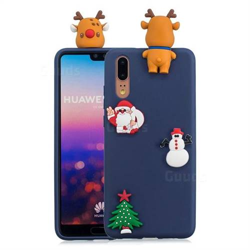 Navy Elk Christmas Xmax Soft 3D Silicone Case for Huawei P20