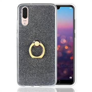 Luxury Soft TPU Glitter Back Ring Cover with 360 Rotate Finger Holder Buckle for Huawei P20 - Black