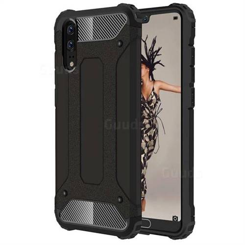 King Kong Armor Premium Shockproof Dual Layer Rugged Hard Cover for Huawei P20 - Black Gold