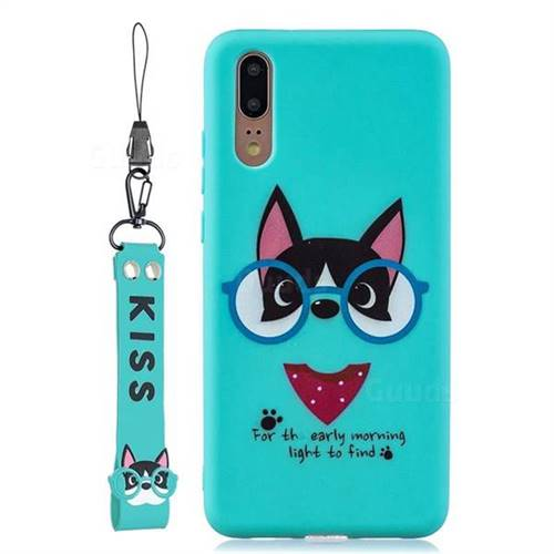 Green Glasses Dog Soft Kiss Candy Hand Strap Silicone Case for Huawei P20