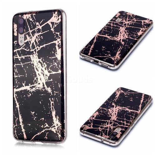 Black Galvanized Rose Gold Marble Phone Back Cover for Huawei P20