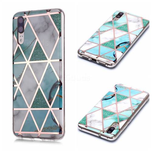 Green White Galvanized Rose Gold Marble Phone Back Cover for Huawei P20