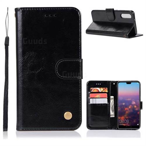 Luxury Retro Leather Wallet Case for Huawei P20 - Black