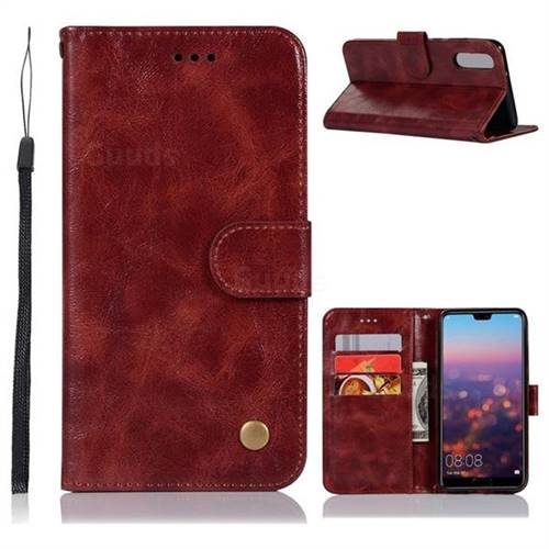 Luxury Retro Leather Wallet Case for Huawei P20 - Wine Red
