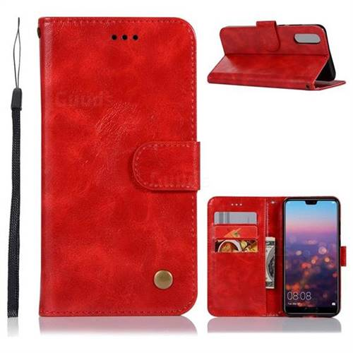 Luxury Retro Leather Wallet Case for Huawei P20 - Red