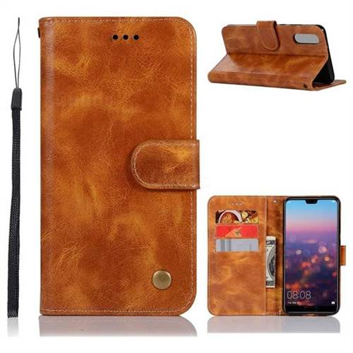 Luxury Retro Leather Wallet Case for Huawei P20 - Golden
