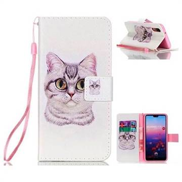 Lovely Cat Leather Wallet Phone Case for Huawei P20