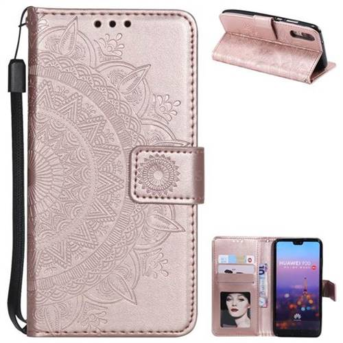 Intricate Embossing Datura Leather Wallet Case for Huawei P20 - Rose Gold