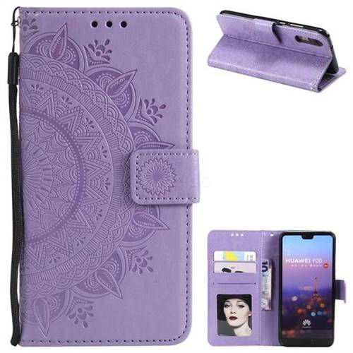 Intricate Embossing Datura Leather Wallet Case for Huawei P20 - Purple