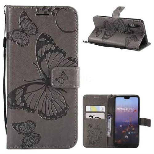 Embossing 3D Butterfly Leather Wallet Case for Huawei P20 - Gray