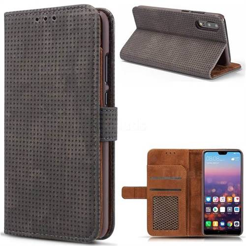 Luxury Vintage Mesh Monternet Leather Wallet Case for Huawei P20 - Black
