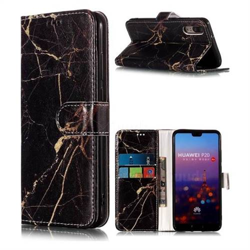 Black Gold Marble PU Leather Wallet Case for Huawei P20